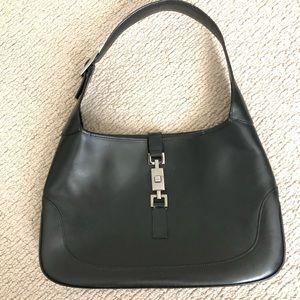 Gucci 'Jackie O' Black Leather Hobo Bag